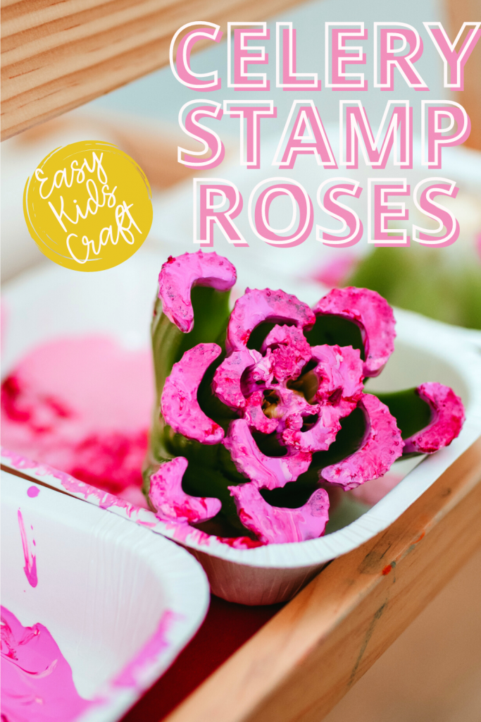 Flower Craft for an easy handmade mother's day gift. Toddlers, preschoolers, and school aged kids can use celery to make a flower stamp!