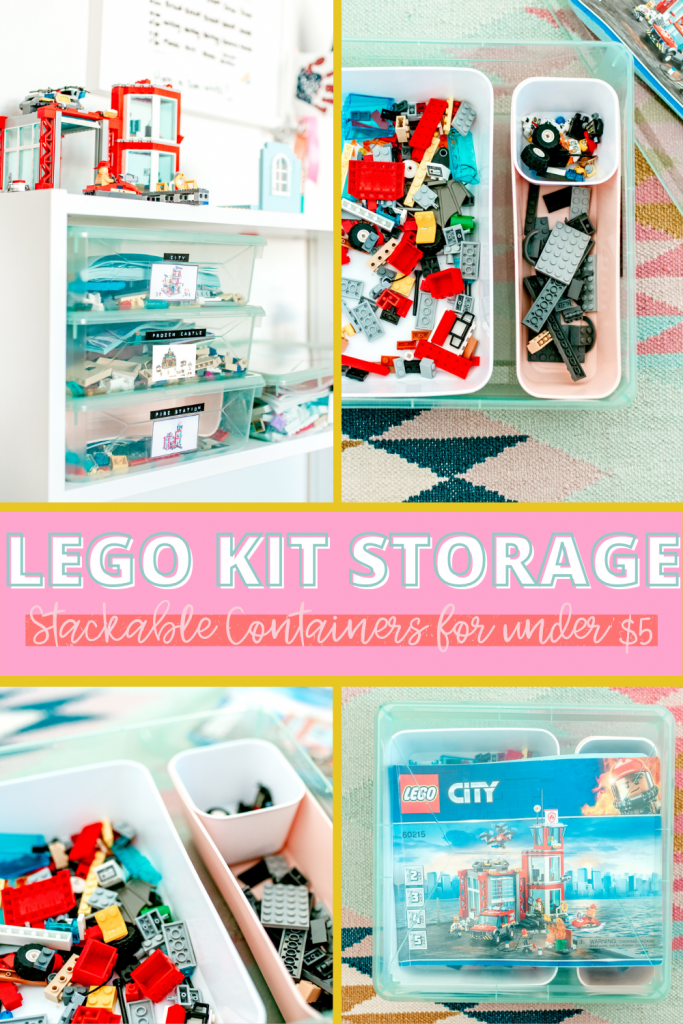 An easy and affordable Lego storage idea! Sort and organize lego kits with this simple bin lego storage container system.