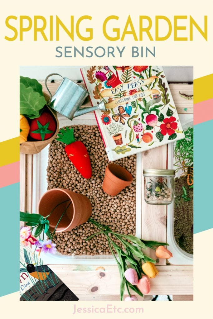 Dig into this spring garden sensory bin! Kids of all ages will love this mess-free kid friendly garden they can play with indoors to plant their own veggies and flowers, dig for bugs, and even make a delish mud cake!