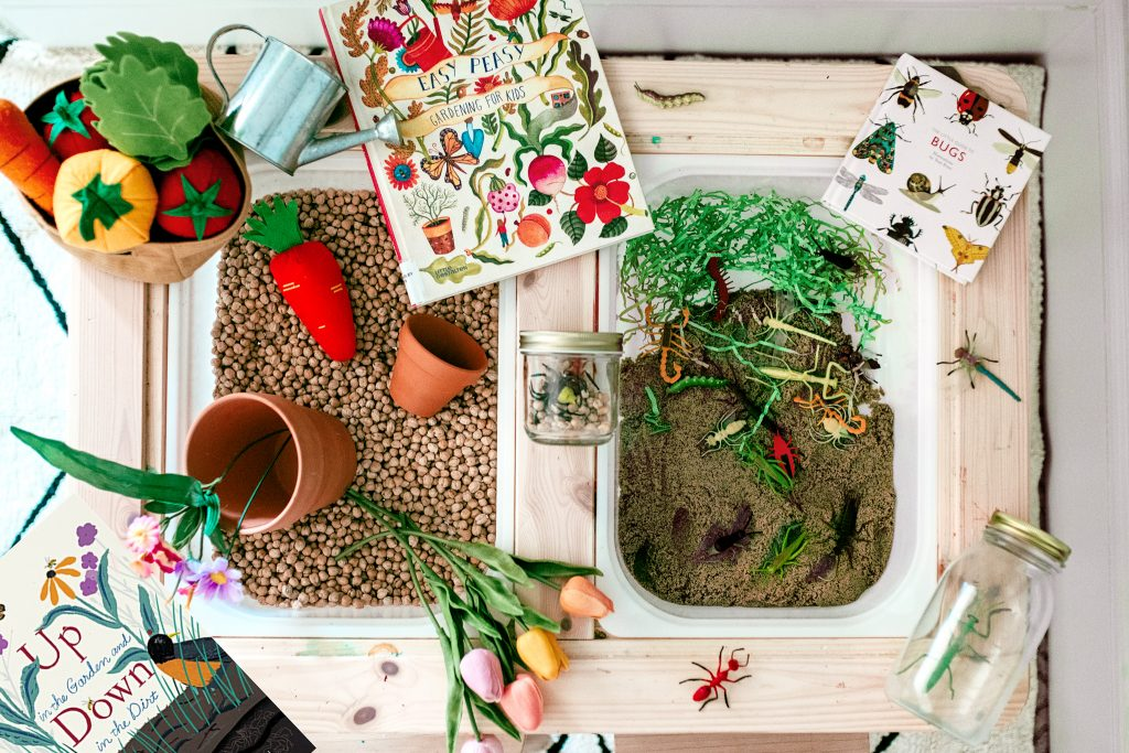 A mess free indoor garden! Preschool and toddler spring sensory bin activity. Introduce spring science and gardening. And maybe cook up a few mud cakes!