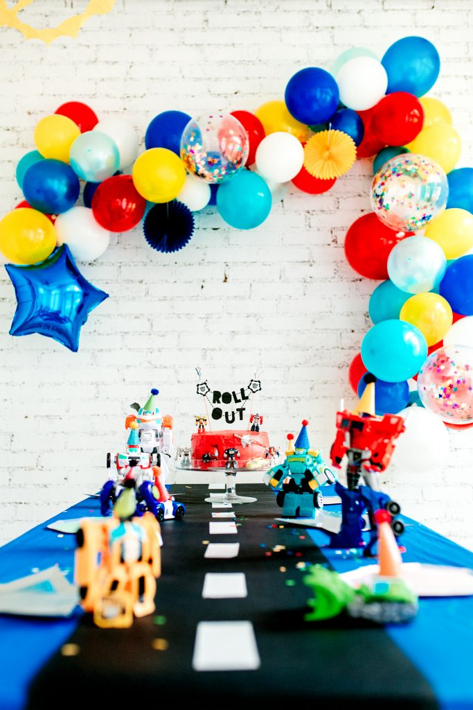 A preschool aged Transformer birthday party for a 4 year old! DIY decorations and ideas for a Trans4mer theme birthday party.