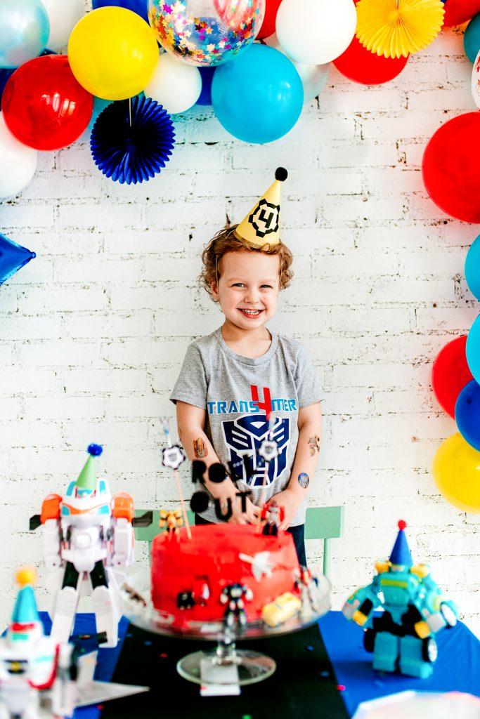 4 year old birthday boy theme Transformers birthday party. Rescue bots birthday party. DIY birthday shirt