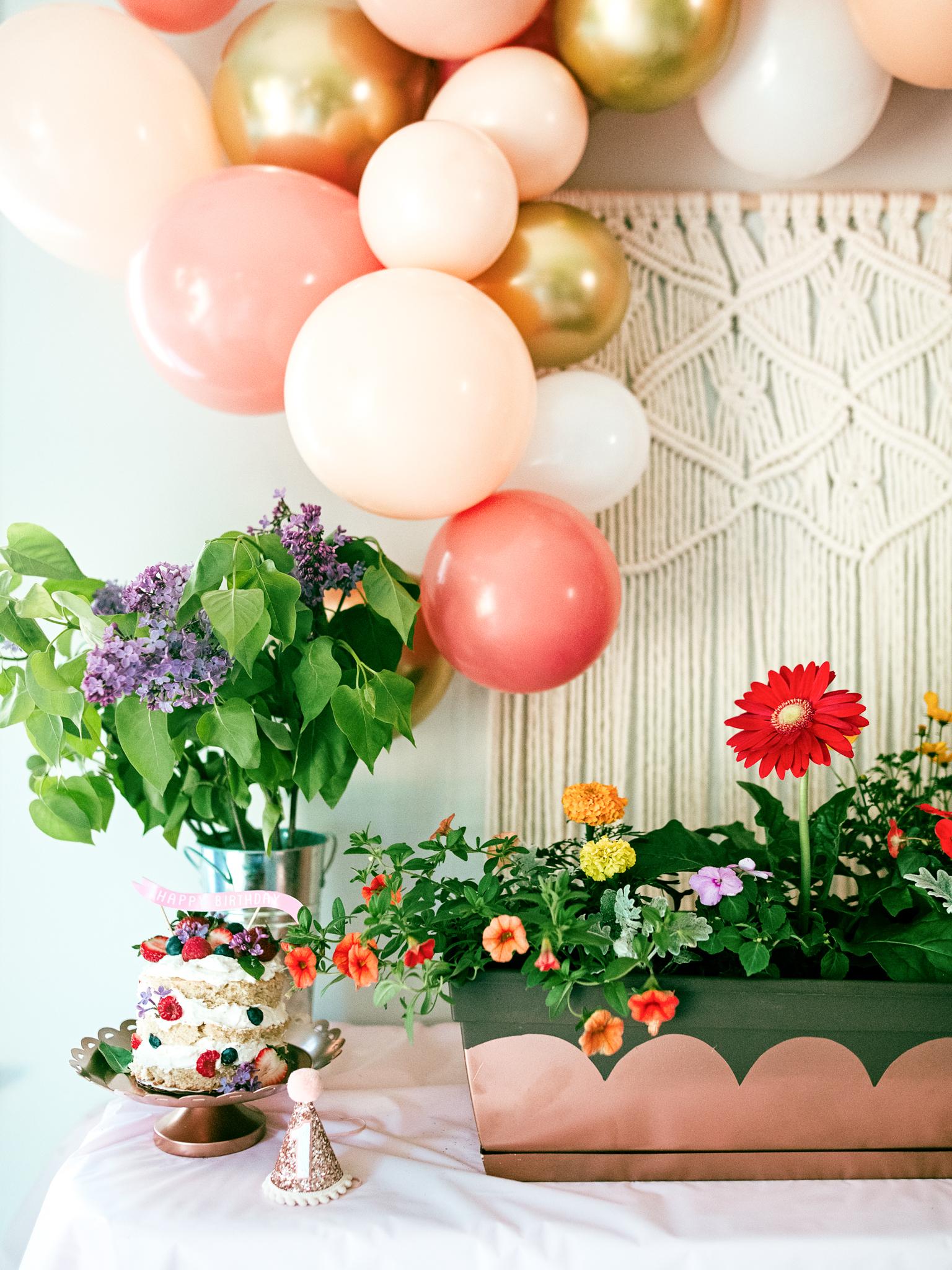 Garden birthday party theme and decor. Fresh flower decor. Garden party. Farmer's market party. Spring birthday parties