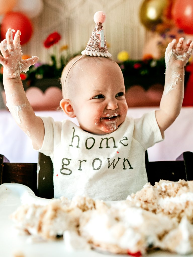Baby born during pandemic turns one year old. Home grown birthday party. Pandemic baby birthday party