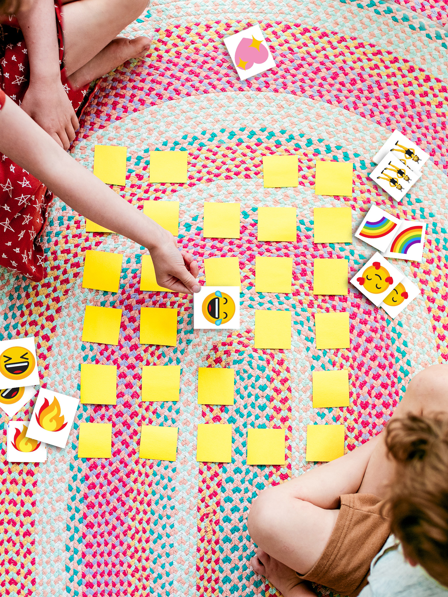 Free Printable - Emoji Matching Game for kids. Print out an emoji game and match two icons to win!