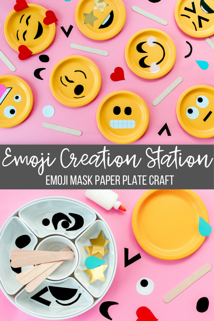 Create an emoji face mask with this paper plate craft for kids and toddlers. Emojis are a fun way for kids to learn about emotions. Plus, they're adorable!!