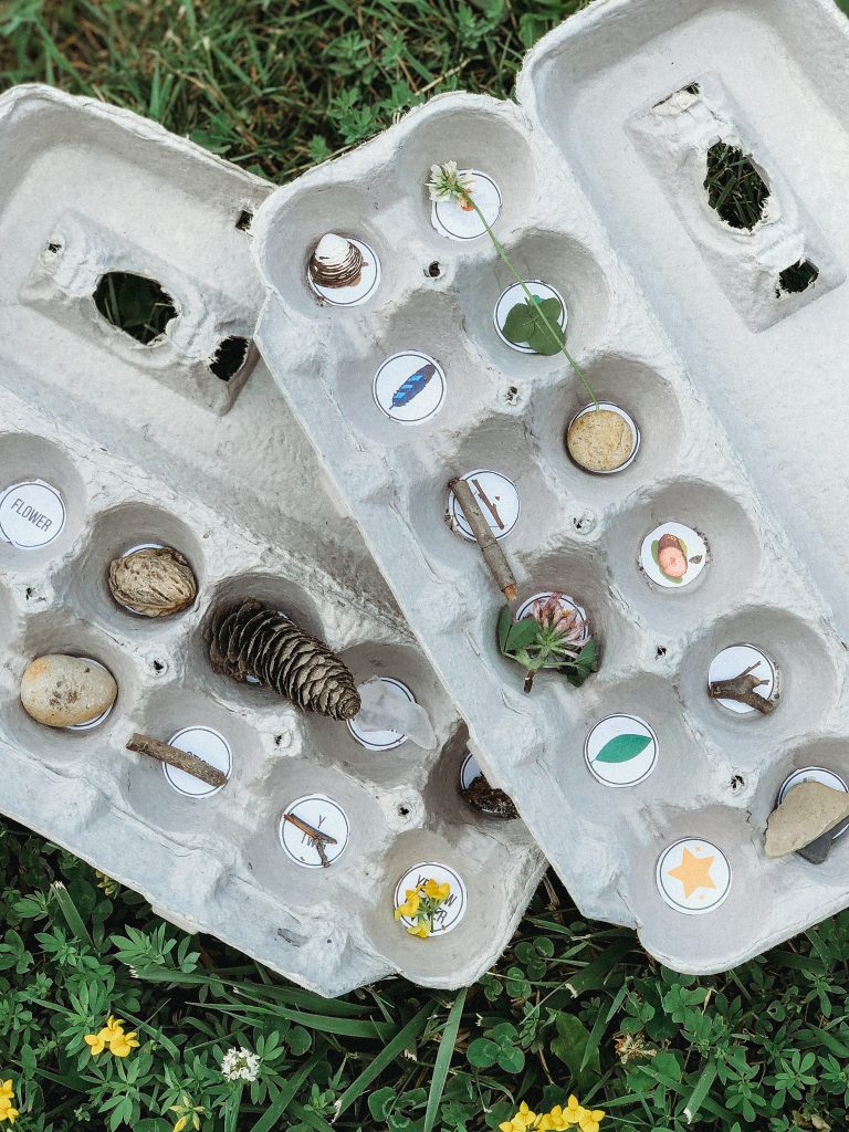 Nature Scavenger Hunt for kids using egg cartons to collect treasures! Print a free list with words and pictures here!