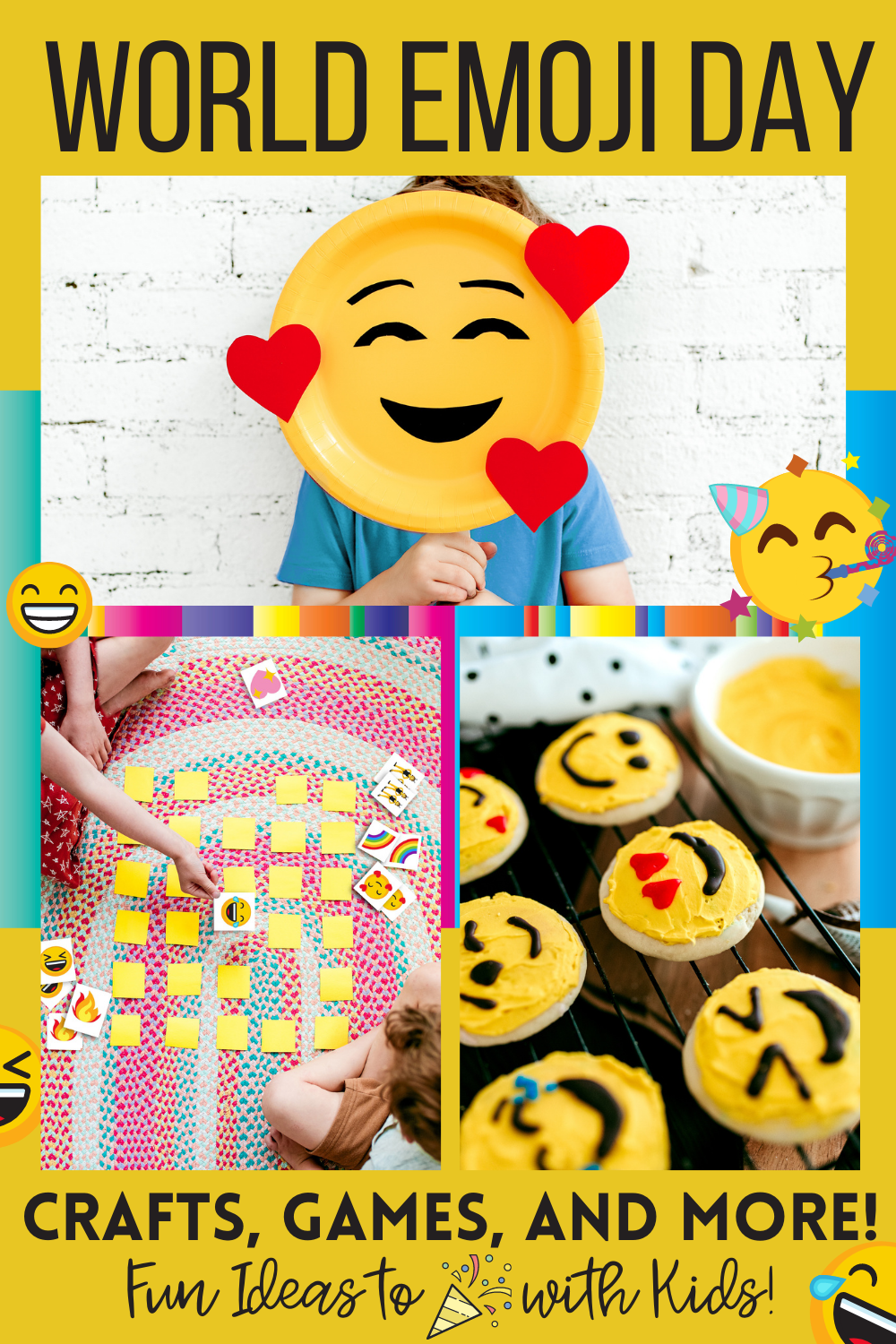 Celebrate World Emoji Day with kids by doing fun crafts, games, baking and a movie night! Jessica Grant shares more activities for kids on Emoji Day!!