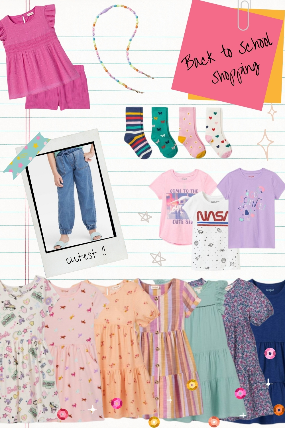 Back to School Clothes for little girls shopping list! My first grade girl is mixing up graphic tees, fun socks, denim joggers, and oh-so-many twirly dresses.