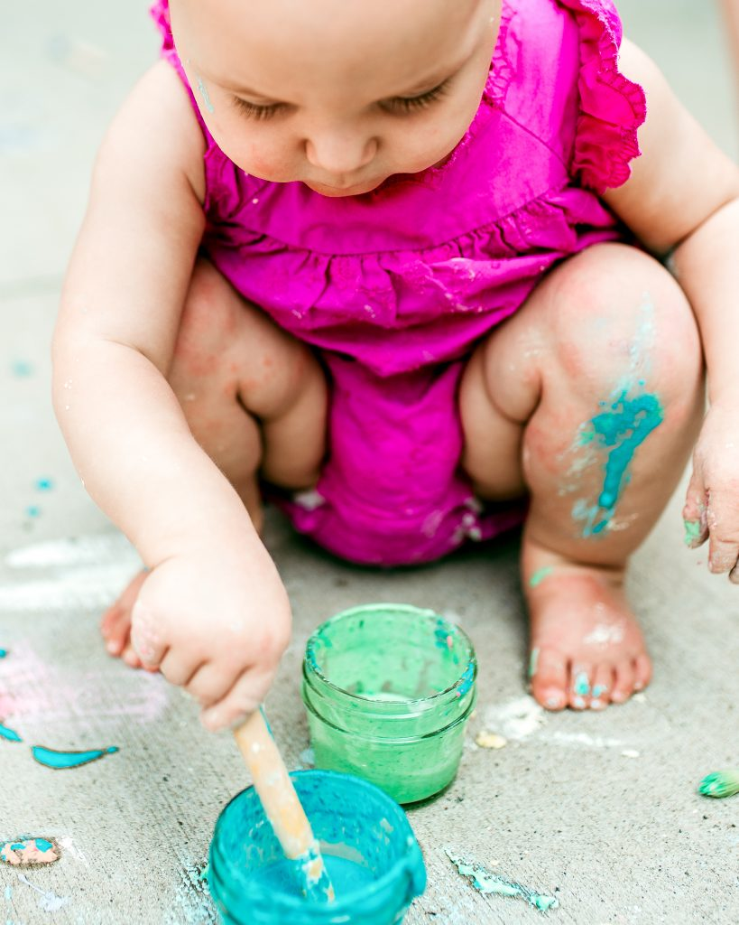 This homemade sidewalk chalk paint is a favorite for all ages!