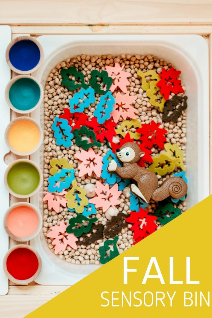 A fall sensory bin is the perfect preschool activity to let kids and toddlers play while learning to count, sort, and identify colors. Strengthen fine motor skills by picking up hidden acorns!