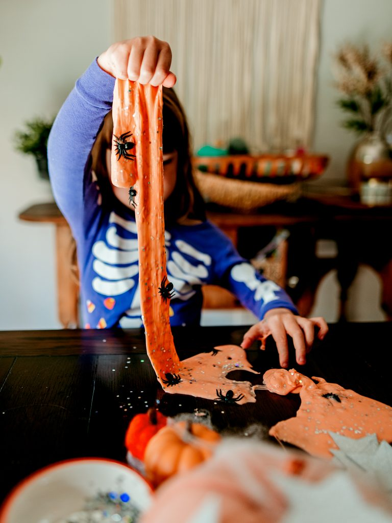 Have fun sensory play with homemade Halloween Slime ! Easy recipe to make slime at home! Kids halloween activity