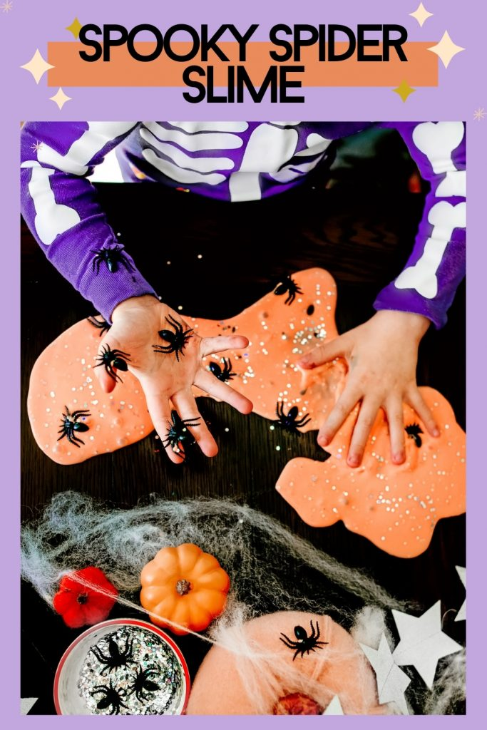 Make a spooky spider Halloween slime this fall for a fun Halloween activity for kids! DIY Slime Recipe for kids sensory play !