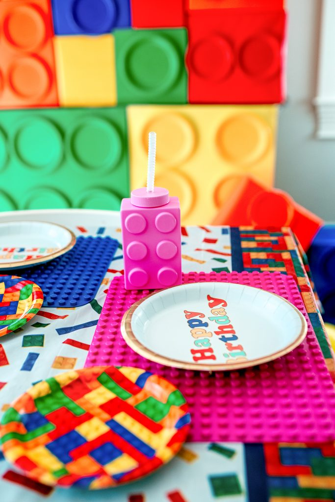 Table decorations for a Lego birthday party.