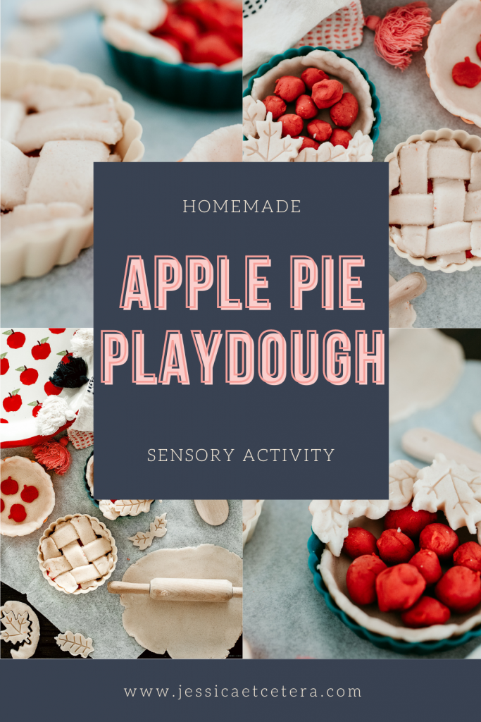 Make homemade apple pie scented play dough for fall sensory play dough kits. Put a pretend baking kit together and make mini apple pies!