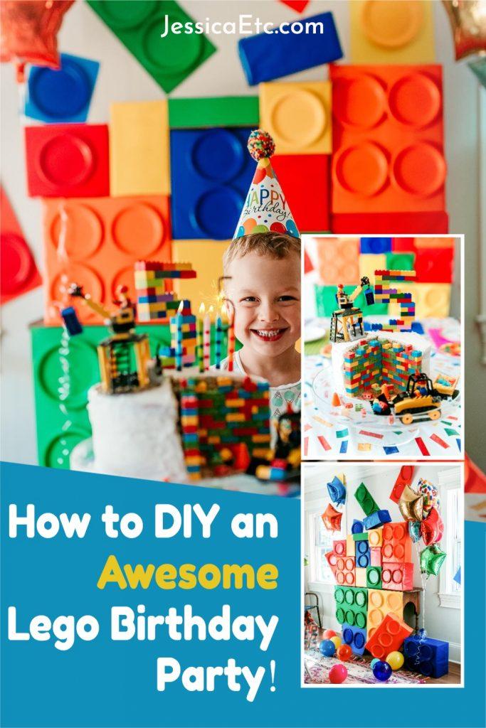 Plan a Lego birthday party! DIY inspiration and more ideas for a Lego birthday party. Lego Birthday Cake. Lego Birthday Decorations